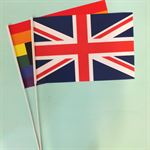 Union Jack and Pride Handwaving Flags