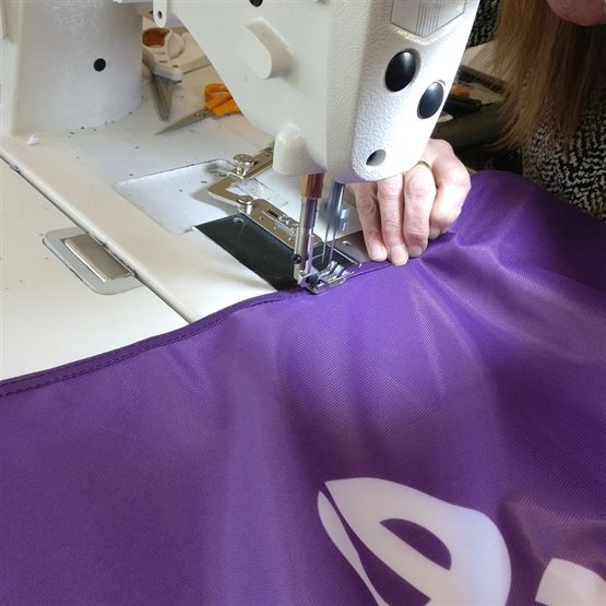 Forecourt Flags in the Sewing Room